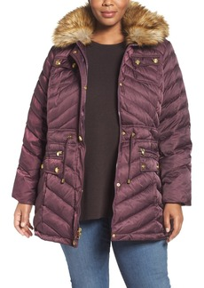 Laundry by Shelli Segal Quilted Parka with Faux Fur Trim