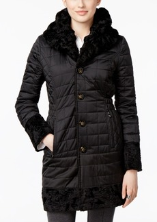 Laundry By Shelli Segal Reversible Faux-Fur Quilted Walker Coat