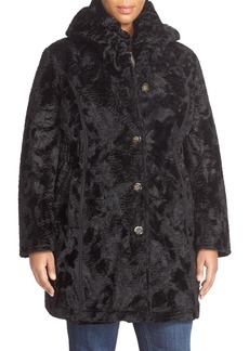 Laundry by Shelli Segal Reversible Faux Persian Lamb Fur Coat (Plus Size)