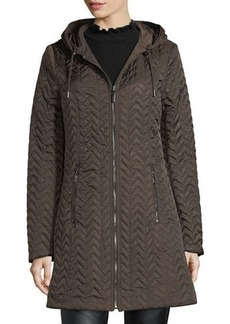 Laundry By Shelli Segal Reversible Hooded Quilted Rain Coat