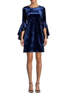 Laundry by Shelli Segal Reversible Ruffle Sleeve Velvet Shift Dress