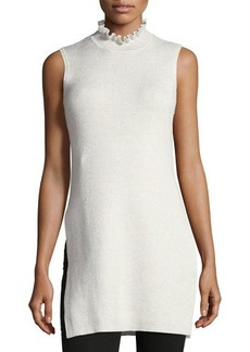 Laundry By Shelli Segal Ribbed High-Neck Sleeveless Tunic