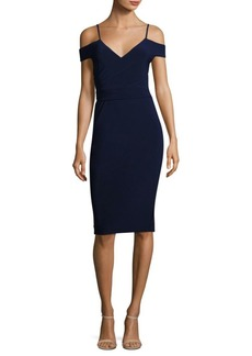 Laundry by Shelli Segal Ruched Cold-Shoulder Sheath Dress