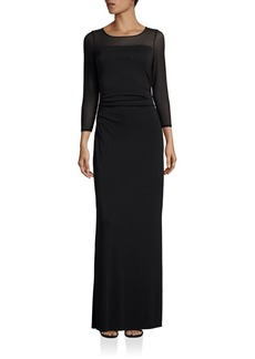 Laundry by Shelli Segal Ruched Three-Quarter Sleeve Gown