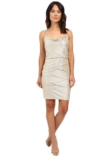 Laundry by Shelli Segal Ruckle Metallic Draped Front/Blouson Tiered Dress