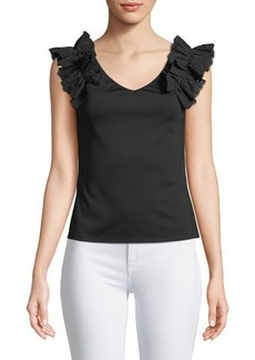 Laundry By Shelli Segal Ruffle-Shoulder V-Neck Tee