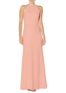 Laundry by Shelli Segal Ruffle-Back Floor-Length Gown