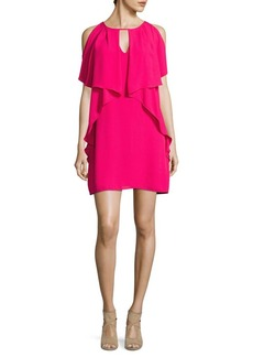 Laundry by Shelli Segal Ruffled Cold-Shoulder Shift Dress