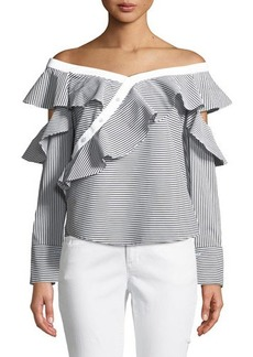 Laundry By Shelli Segal Ruffled Off-The-Shoulder Striped Blouse