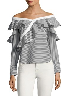 Laundry by Shelli Segal Ruffled Off-The-Shoulder Striped Top