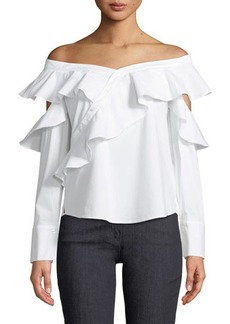 Laundry By Shelli Segal Ruffled Poplin Off-The-Shoulder Blouse