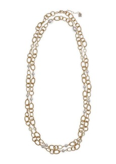Laundry by Shelli Segal Santa Barbara Whites Goldtone & 8MM-13MM Glass Pearls Long Necklace