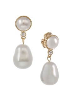 Laundry by Shelli Segal Santa Barbara Whites Goldtone & Glass Pearl Drop Earrings