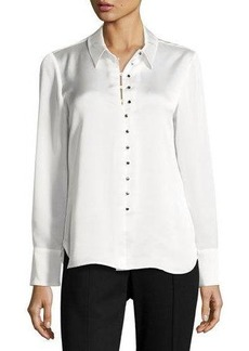 Laundry By Shelli Segal Satin Long-Sleeve Button-Up Blouse