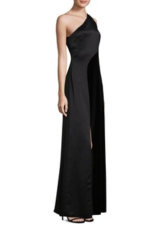 Laundry by Shelli Segal Satin One-Shoulder Gown