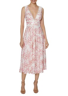 Laundry by Shelli Segal Sequin Embroidered Midi Dress