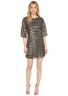 Laundry by Shelli Segal Sequin Mesh Diamond Grid Shift Cocktail Dress
