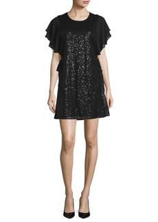 Laundry by Shelli Segal Sequined Crewneck Dress