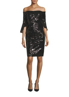 Laundry by Shelli Segal Sequined Bell Sleeve Off-The-Shoulder Dress