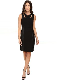 Sheath Dress w/ Cut Outs & Faux Leather