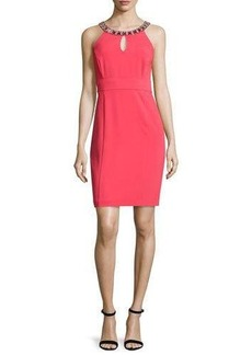 Laundry By Shelli Segal Sheath Dress with Embellished Neck