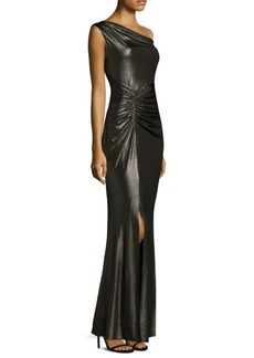 Laundry by Shelli Segal Shirred Floor-Length Gown