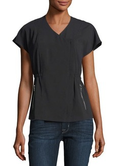 Laundry By Shelli Segal Short-Sleeve Crepe Moto Jacket