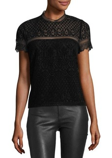 Laundry By Shelli Segal Short-Sleeve Flocked Lace Top