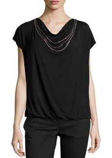 Laundry By Shelli Segal Short-Sleeve Jersey-Knit Necklace Tee