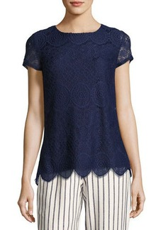 Laundry By Shelli Segal Short-Sleeve Lace Top