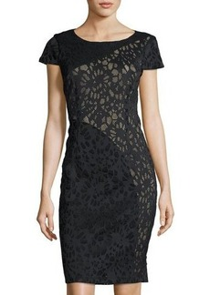 Laundry By Shelli Segal Short-Sleeve Laser-Cut Sheath Dress