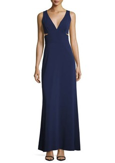 Laundry By Shelli Segal Side-Cutouts V-Neck Gown