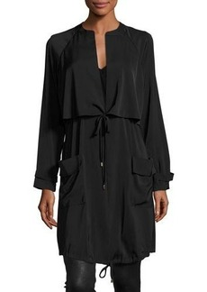 Laundry By Shelli Segal Silky Self-Tie Anorak Jacket