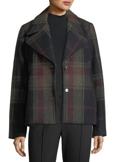Laundry By Shelli Segal Single-Breasted Plaid Swing Coat