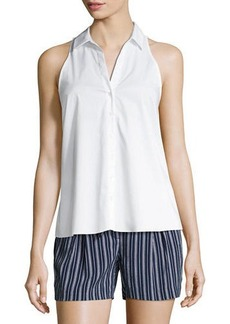 Laundry By Shelli Segal Sleeveless Button-Front Poplin Top