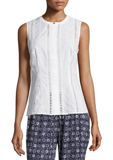 Laundry By Shelli Segal Sleeveless Cotton Eyelet Blouse