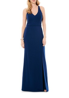 LAUNDRY BY SHELLI SEGAL Sleeveless Crepe Gown