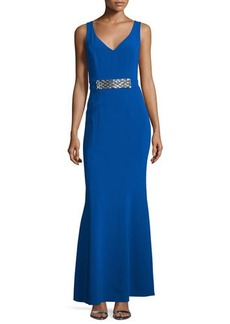 Laundry by Shelli Segal Sleeveless Embellished-Waist Gown