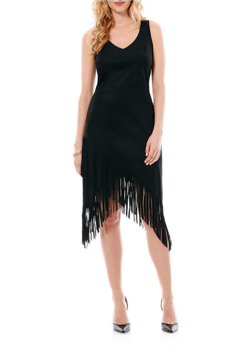 LAUNDRY BY SHELLI SEGAL Sleeveless Fringed Dress