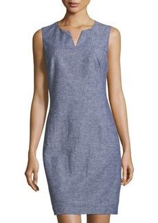Laundry by Shelli Segal Sleeveless Linen Sheath Dress