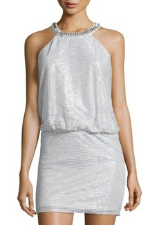 Laundry by Shelli Segal Sleeveless Metallic Blouson Cocktail Dress