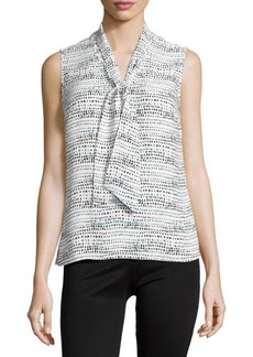 Laundry by Shelli Segal Sleeveless Printed Tie-Neck Blouse