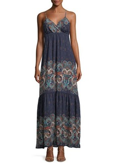 Laundry By Shelli Segal Sleeveless Printed Tiered Maxi Dress