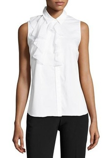 Laundry By Shelli Segal Sleeveless Ruffle-Bib Poplin Blouse