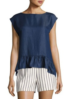 Laundry By Shelli Segal Slouchy Ruffle Cropped Blouse