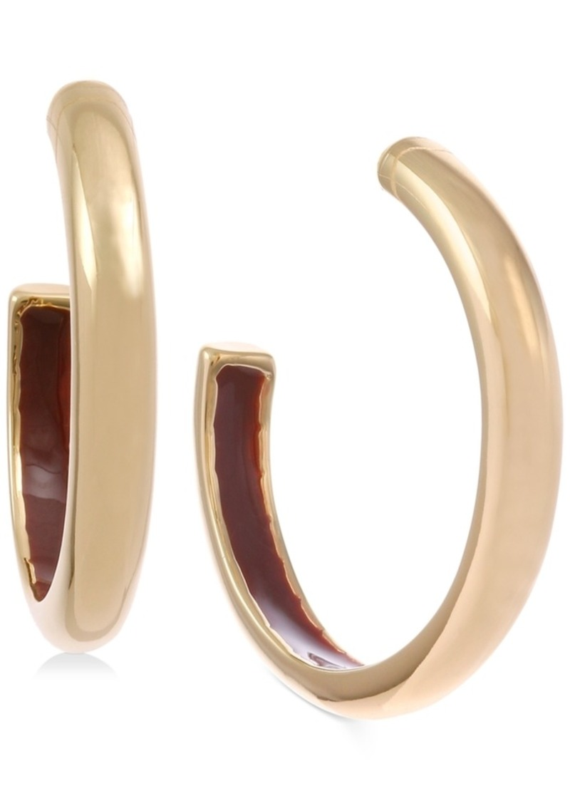 Laundry by Shelli Segal Small Gold-Tone Enamel-Lined Hoop Earrings 1""