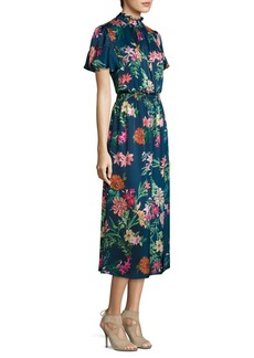 Laundry by Shelli Segal Smocked Floral-Print Midi Dress
