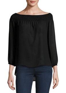 Laundry By Shelli Segal Smocked-Neck Chiffon Top