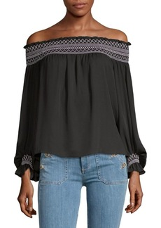 Laundry by Shelli Segal Smocked Off-The-Shoulder Blouse