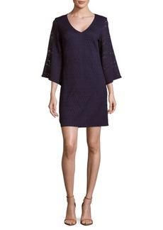 Laundry by Shelli Segal Soft V-Neck Three-Fourth-Sleeve Dress